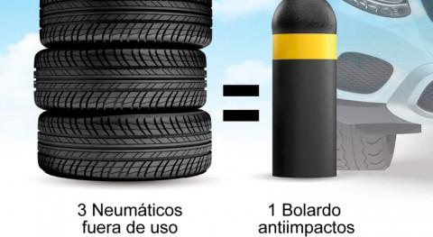 ¿Sabías que se fabrican bolardos seguridad ecológicos procedente neumáticos fuera uso?