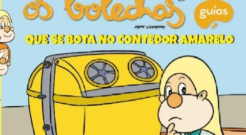 Os Bolechas instruyen escolares gallegos correcto uso contenedor amarillo