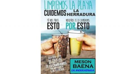 caña cambio vaso lleno colillas recogidas playa bar Herradura