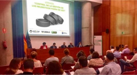 gestión neumáticos fuera uso y problemática, debate Canarias