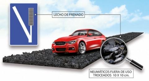 Nuevo uso neumáticos fuera uso: Lechos frenado emergencia carreteras