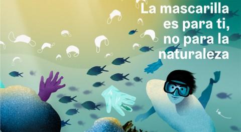 """"""" mascarilla es ti, no naturaleza"""", campaña evitar abandono residuos"""