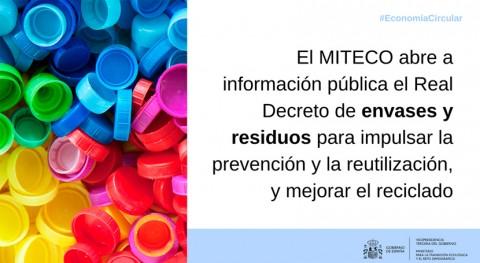 MITECO impulsa reciclaje y abre información pública Real Decreto envases y residuos