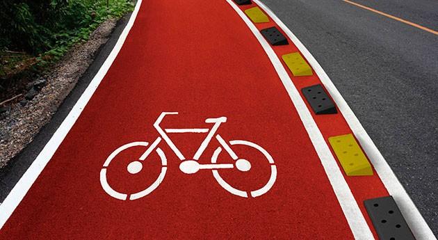 TNU lanza baliza separadora carril bici fabricada neumáticos fuera uso