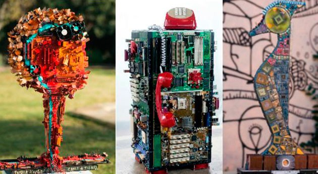 Espacio Fundación Telefónica Chile expone 23 esculturas hechas residuos electrónicos