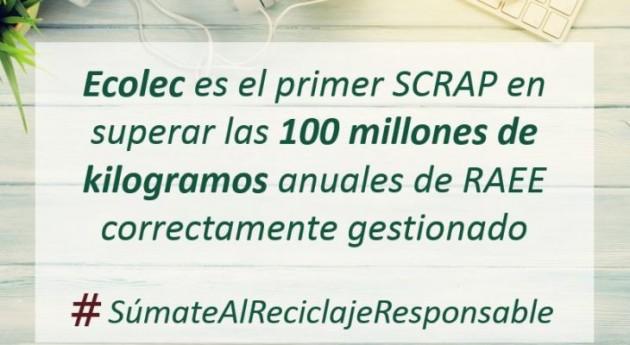 ECOLEC supera 100 millones kilogramos anuales RAEE correctamente gestionados