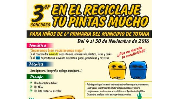 """Alumnos 6º primaria Totana participan Concurso """" reciclaje, tú pintas mucho"""""""