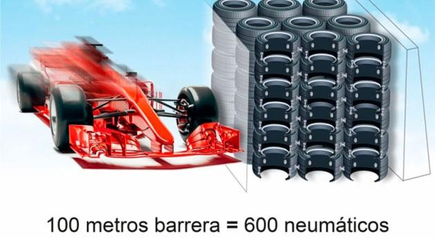 ¿Sabías que se pueden formar barreras protectoras F1 partir neumáticos usados?