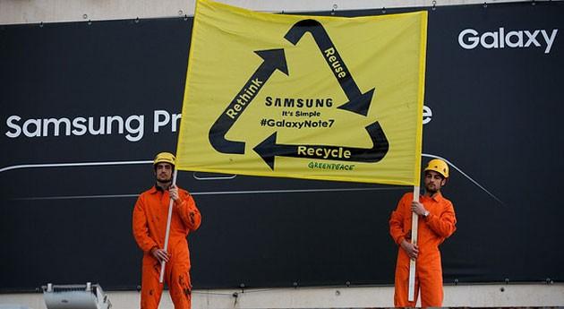 Nueva acción Greenpeace pedir Samsung que recicle Galaxy Note defectuosos