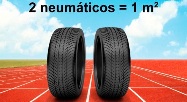 ¿Conoces pistas atletismo fabricadas neumáticos fuera uso?