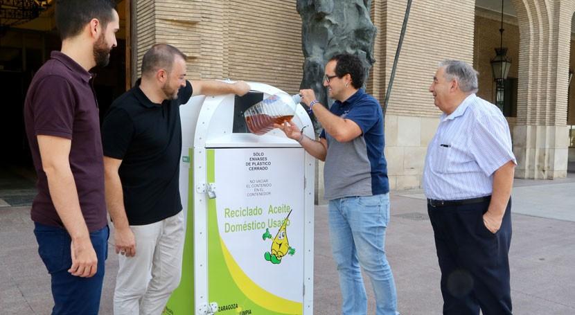 Reciclar tiene punto: Zaragoza estrena191 nuevos contenedores aceite usado