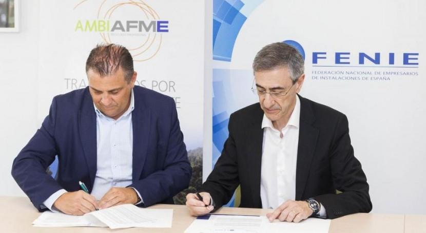 Acuerdo AMBILAMPAMBIAFME y FENIE fomentar reciclaje RAEE instaladores