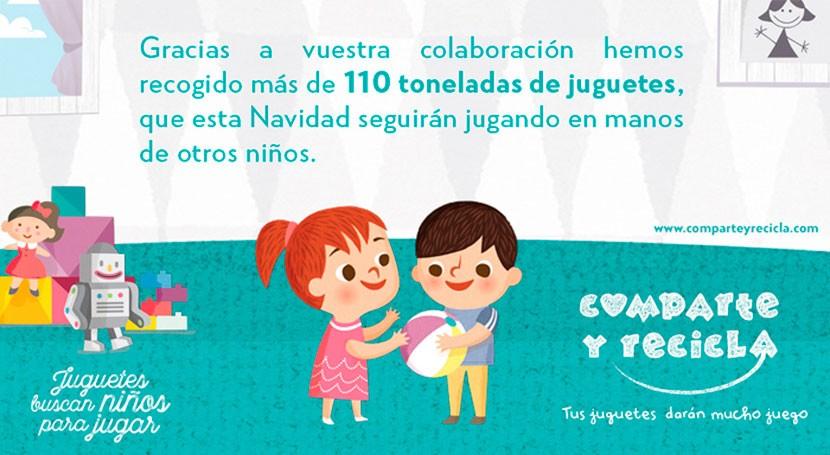 """""""Comparte y Recicla"""", campaña recogida juguetes usados, recoge más 110 toneladas"""