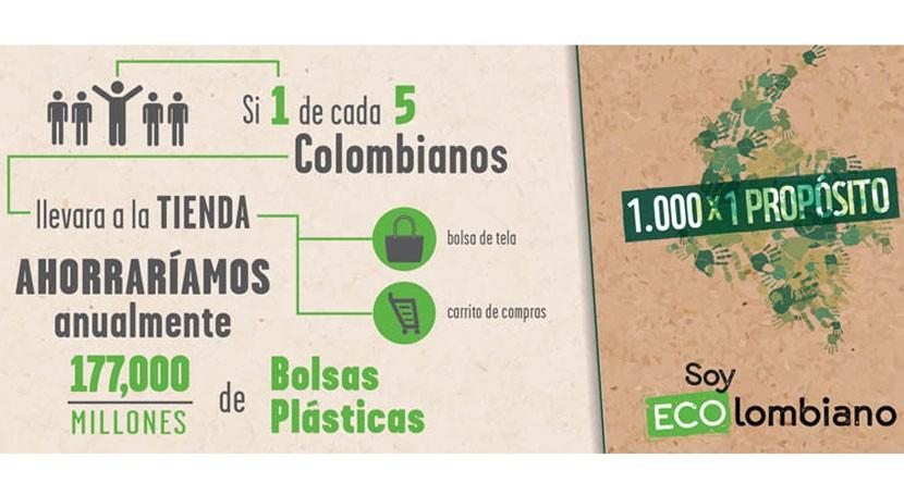 Mil ECOlombianos propósito: Disminuir consumo bolsas plásticas 2018