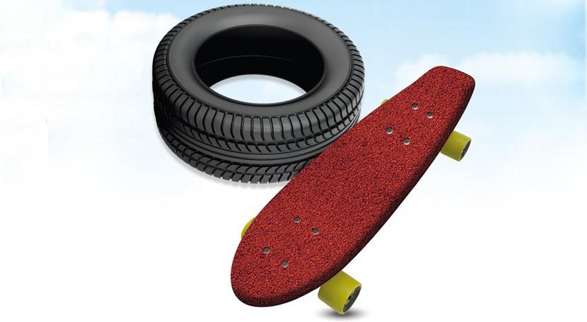 ¿Sabías que… se pueden fabricar monopatines reciclando caucho neumáticos usados?